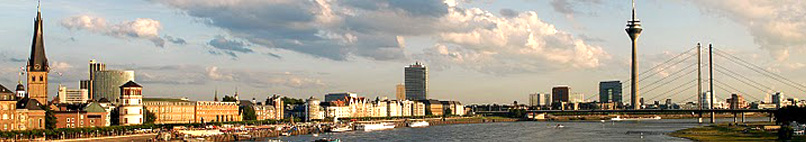 Düsseldorf - Rhine panorama with Altstadt (old town) and TV tower